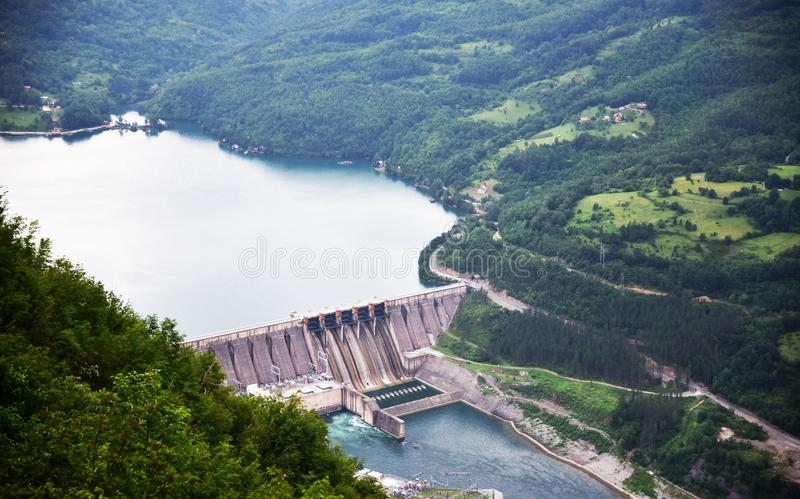 Hydroelectric power plant `Bajina basta` on the Drina river. View from mt. Tara on the largest part of the lake is located in the Drina River Canyon. The lake is royalty free stock photography