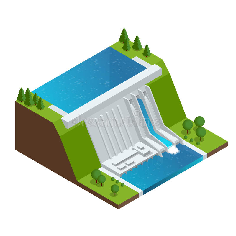 Hydroelectric Power Plant. Factory Electric. Water Power Station Dam Electricity Grid Energy Supply Chain. Flat 3d stock illustration