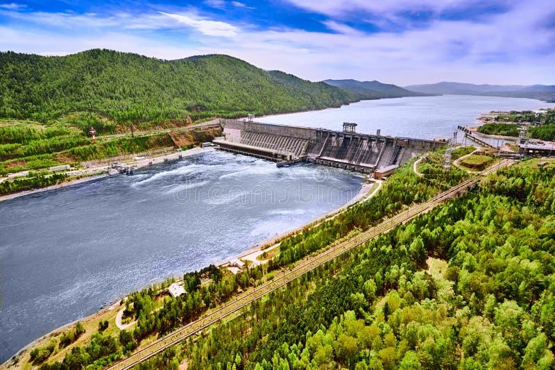Hydroelectric power station in Krasnoyarsk stock photography