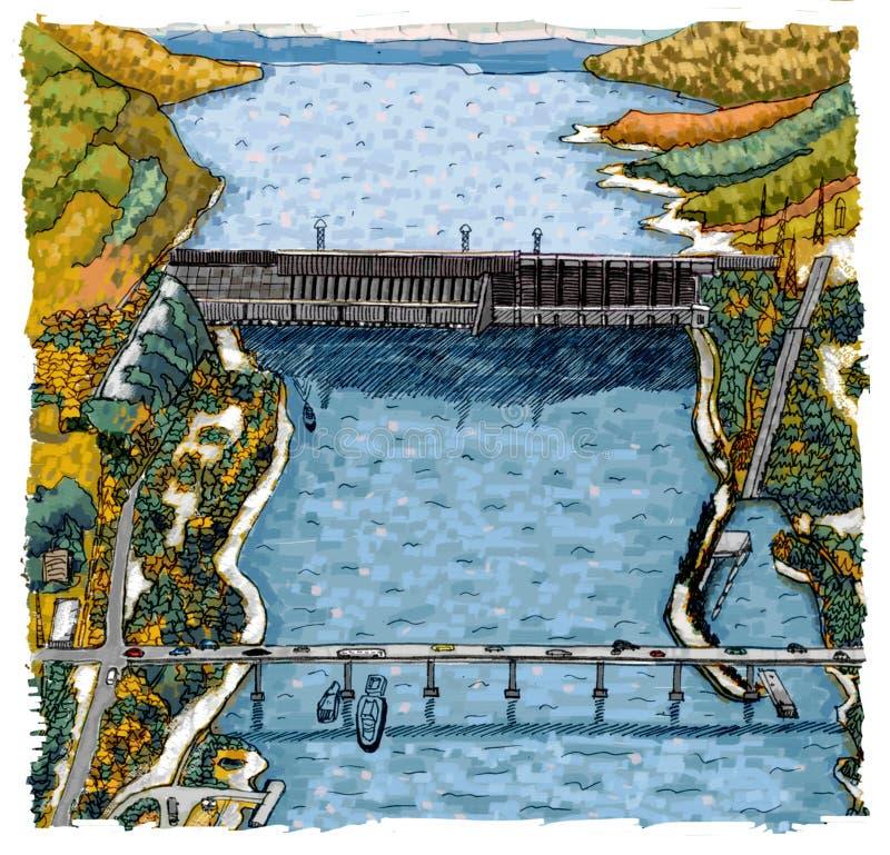 Hydroelectric power station in Krasnoyarsk royalty free illustration