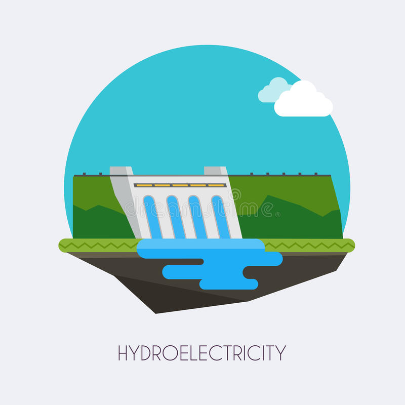 Hydroelectric power station. Landscape and industrial factory vector illustration