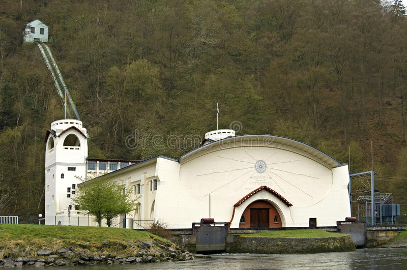 Hydroelectric power station, natural reserve Eifel. Germany: this electricity plant is built in art nouveau architectural [Jugendstil] style and in the middle of stock images