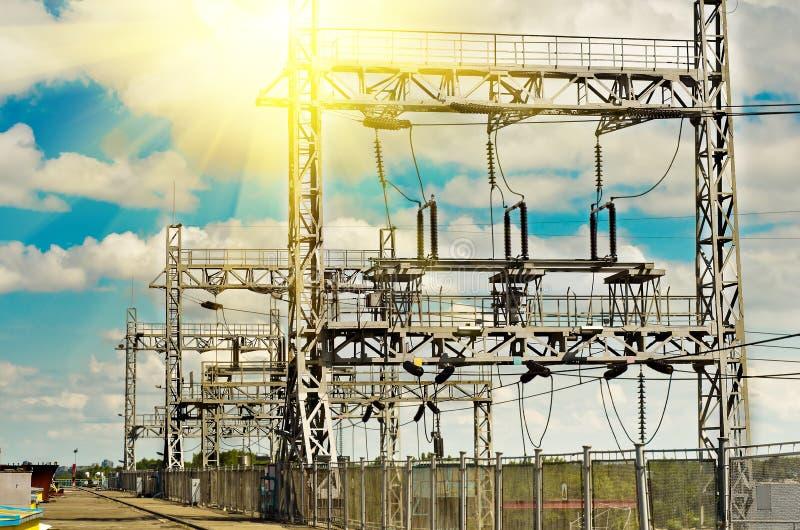 Hydroelectric power station. The river Dnepr, Dneprodzerzhinsk, Ukraine royalty free stock photo