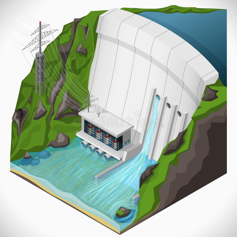 Hydroelectric power station. stock illustration