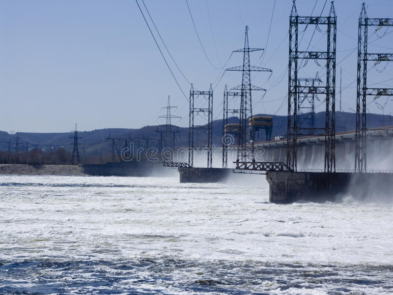 Hydroelectric power stationReset of water at hydroelectric power station stock image