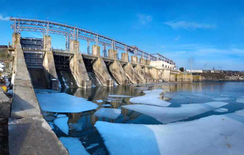 Hydroelectric pumped storage power plant stock photo