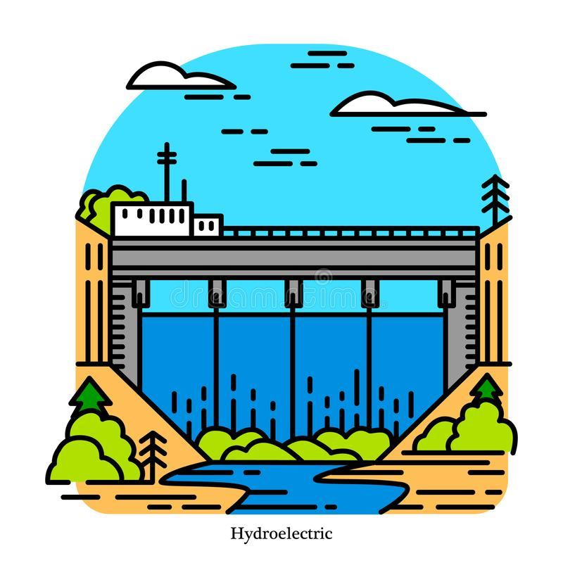 Hydroelectricity power plant. Electricity produced from hydropower. Powerhouse or generating station. Industrial. Building icon. Ecological sources vector illustration