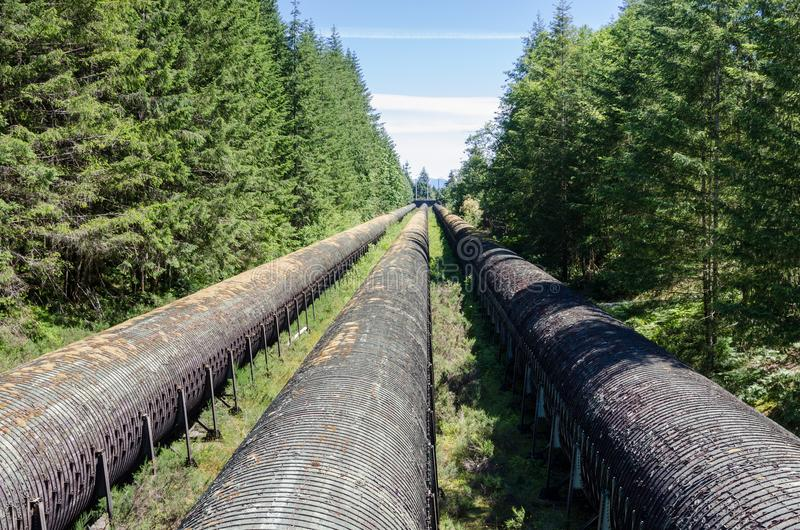 Hydroelektrisch flechten Sie Wasserleitungen durch Holz auf Sunny Summer Day lizenzfreies stockbild