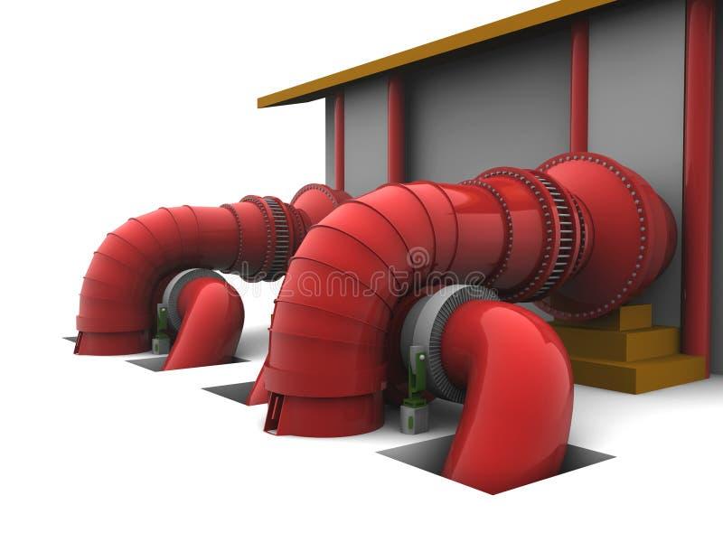 Hydroelektrische Anlage vektor abbildung
