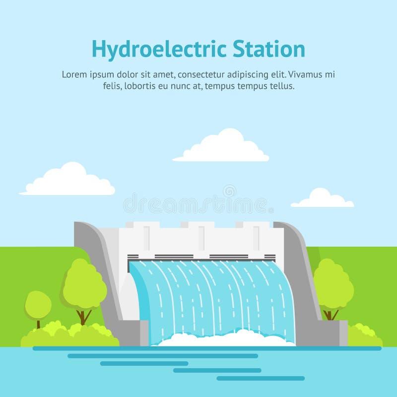 Hydroelektrisk station för tecknad film på en affisch för landskapbakgrundskort vektor vektor illustrationer
