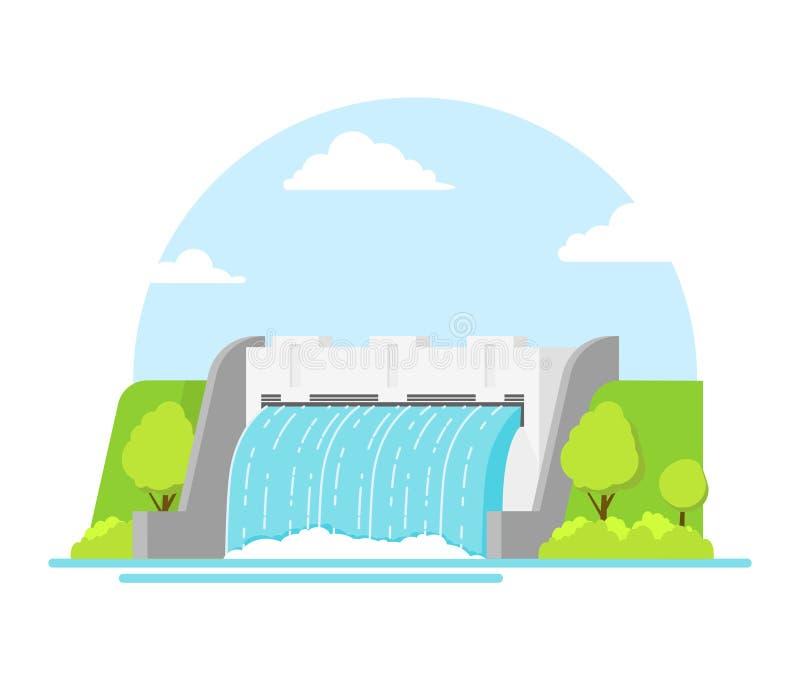 Hydroelektrisk station för tecknad film på en landskapbakgrund vektor stock illustrationer