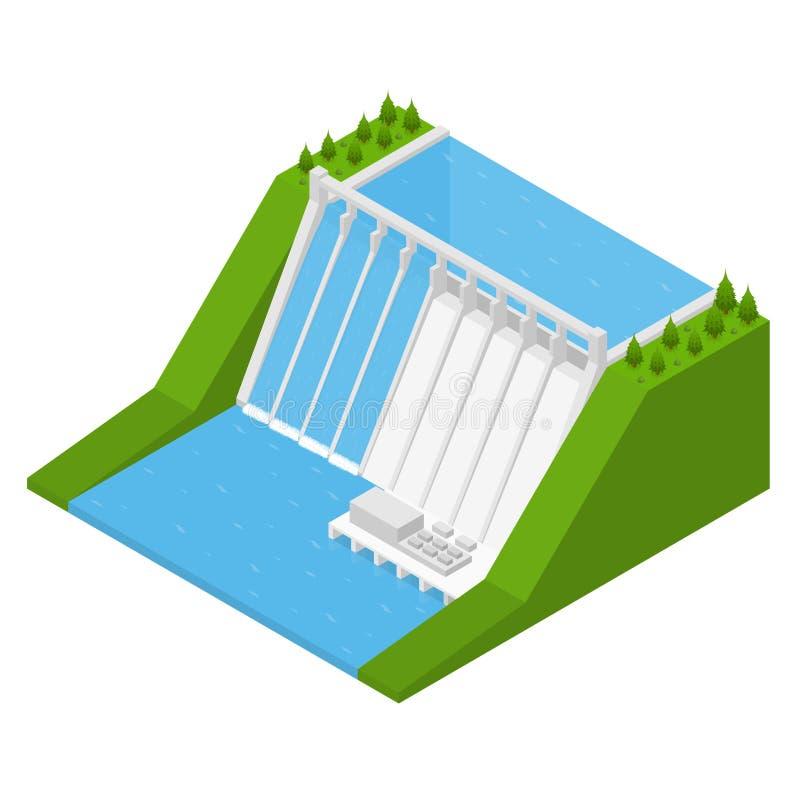 Hydroelektrizitäts-Kraftwerk-isometrische Ansicht Vektor lizenzfreie abbildung