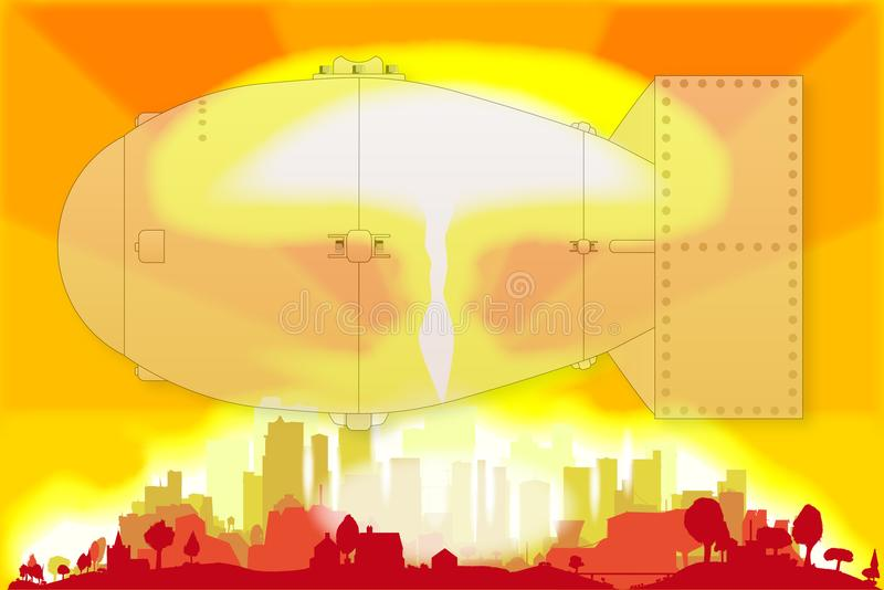 The Hydrogen Power Plant On An Orange Background  Hydrogen Energy Sources Concept  Vector