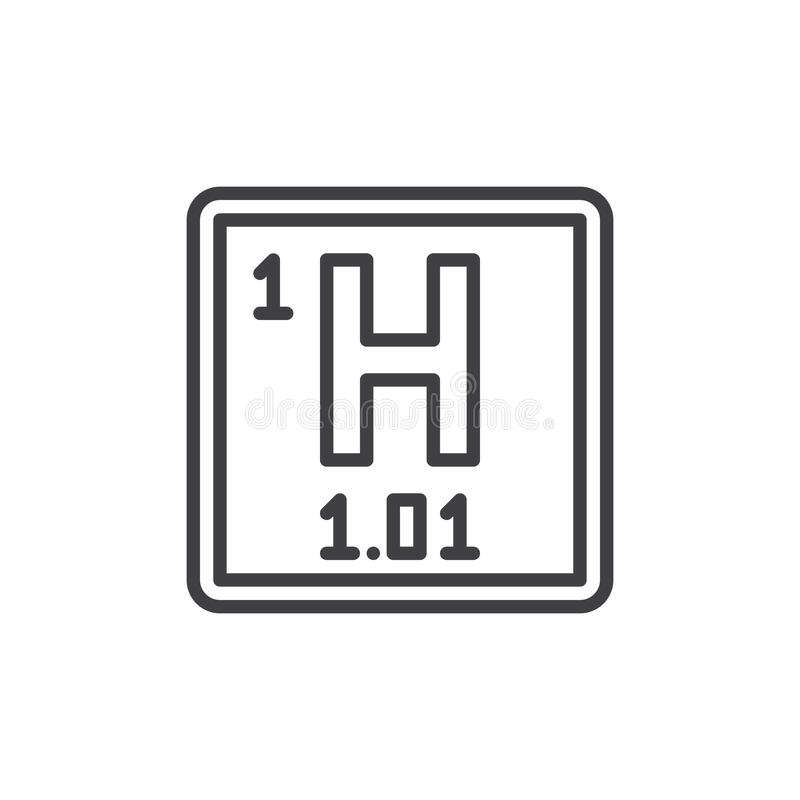 Hydrogen Chemical Element Line Icon Outline Vector Sign Linear