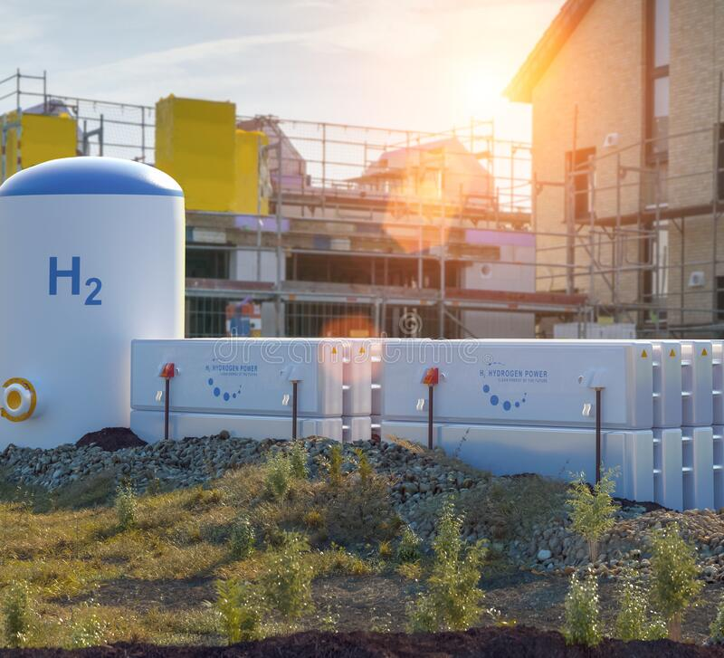 Free Hydrogen Renewable Energy Production - Hydrogen Gas For Clean Electricity At Real Estate Home Royalty Free Stock Photo - 202114435
