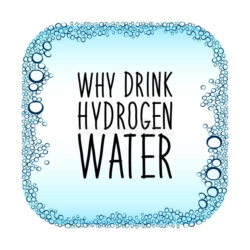 Hydrogen water drinking new technology concept frame. Hydrogen rich water drinking phenomenon as new technology that effects as antioxidant, concept frame stock illustration