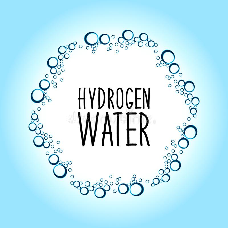 Hydrogen water drinking new technology concept frame. Hydrogen rich water drinking phenomenon as new technology that effects as antioxidant, concept frame royalty free illustration