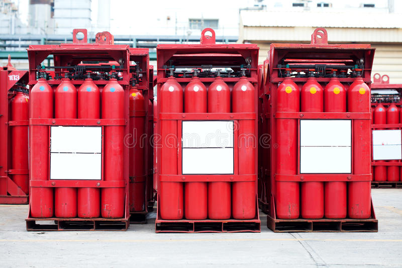 Hydrogen tank cylinders. A red hydrogen tank cylinders stock photo