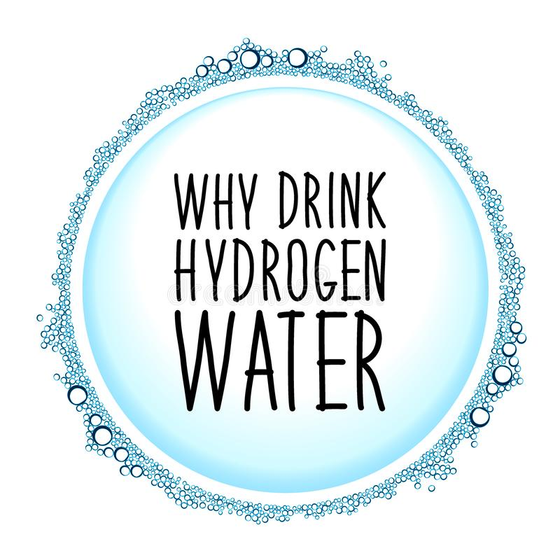 Hydrogen water drinking new technology concept frame. Hydrogen rich water drinking phenomenon as new technology that effects as antioxidant, concept frame vector illustration