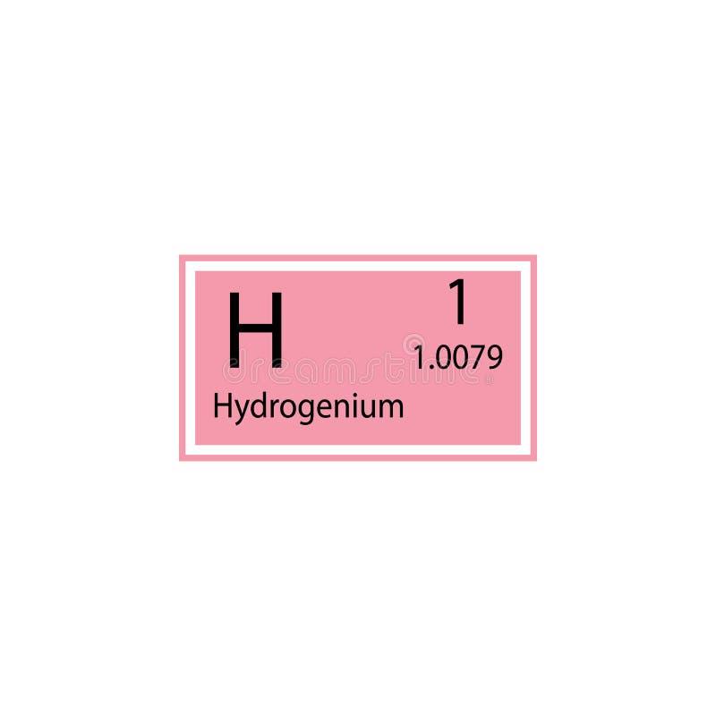 Hydrogenium för beståndsdel för periodisk tabell symbol Beståndsdel av den kemiska teckensymbolen Högvärdig kvalitets- symbol för stock illustrationer