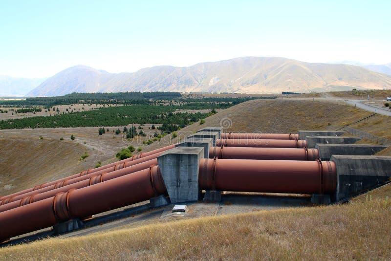 Hydrokraftverk nära Twizel Nya Zeeland arkivfoto