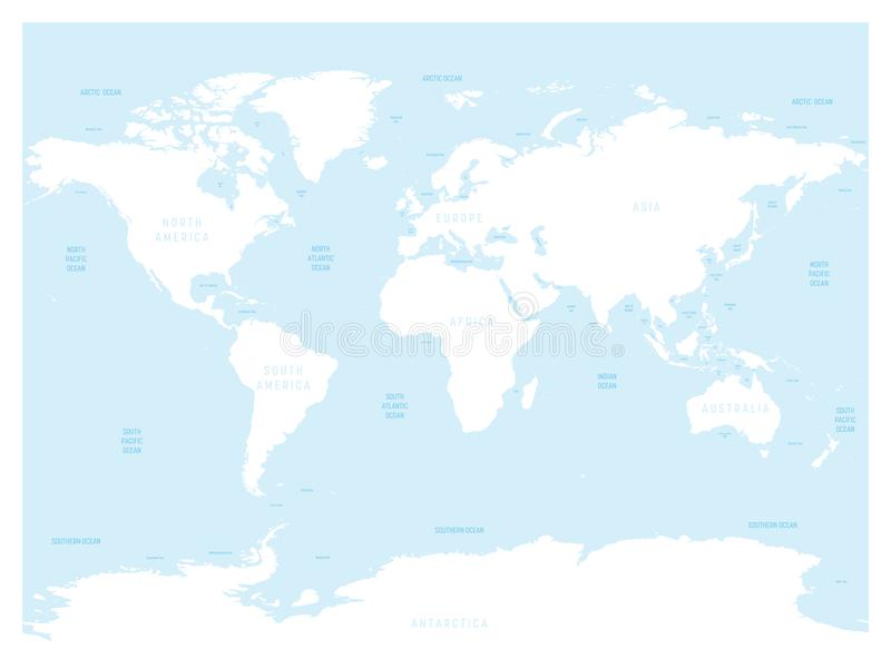 Hydrological Map Of World With Labels Of Oceans Seas Gulfs Bays - World map oceans seas gulfs