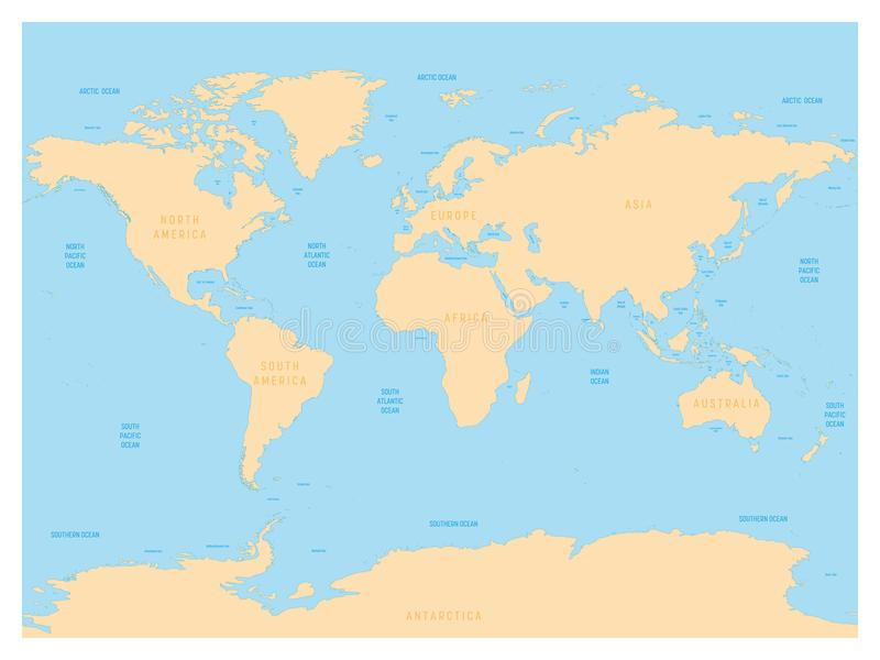 Hydrological Map Of World With Labels Of Oceans, Seas, Gulfs ...
