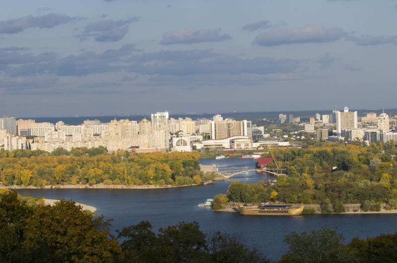 Hydropark and Kiev left side. At autumn. Blue Dnepr river in the middle of composition stock image