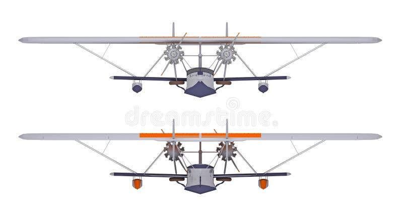 Hydroplane bij het witte 3d teruggeven wordt geïsoleerd die vector illustratie