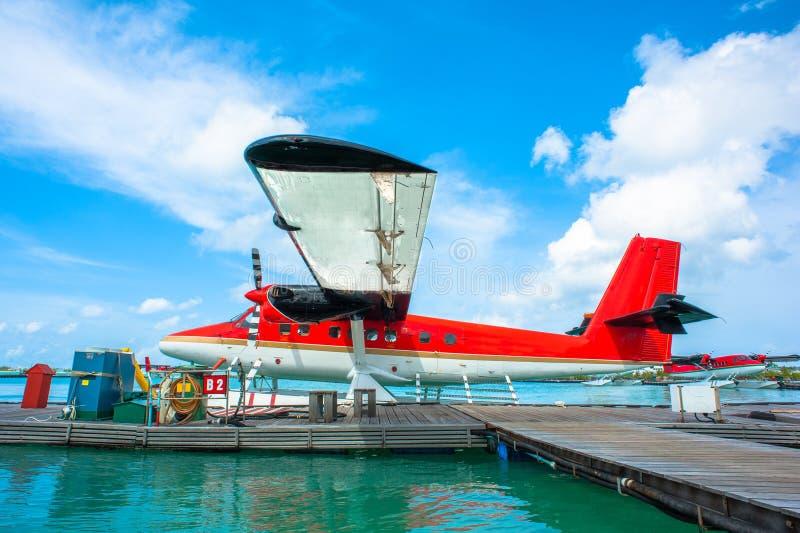 Hydroplane am männlichen Flughafen, Malediven stockfotos