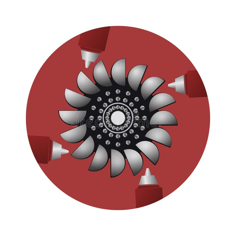 Hydroturbin Källorna av förnybara energikällor stock illustrationer