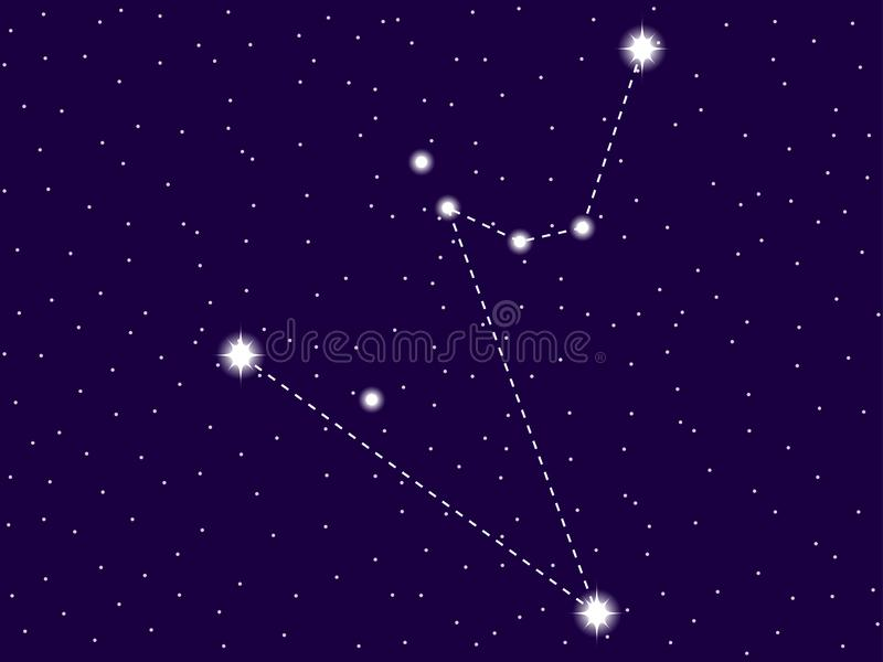 Hydrus constellation. Starry night sky. Zodiac sign. Cluster of stars and galaxies. Deep space. Vector. Illustration royalty free illustration