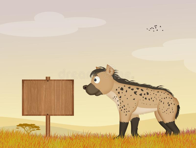 Hyena in de wildernis stock illustratie
