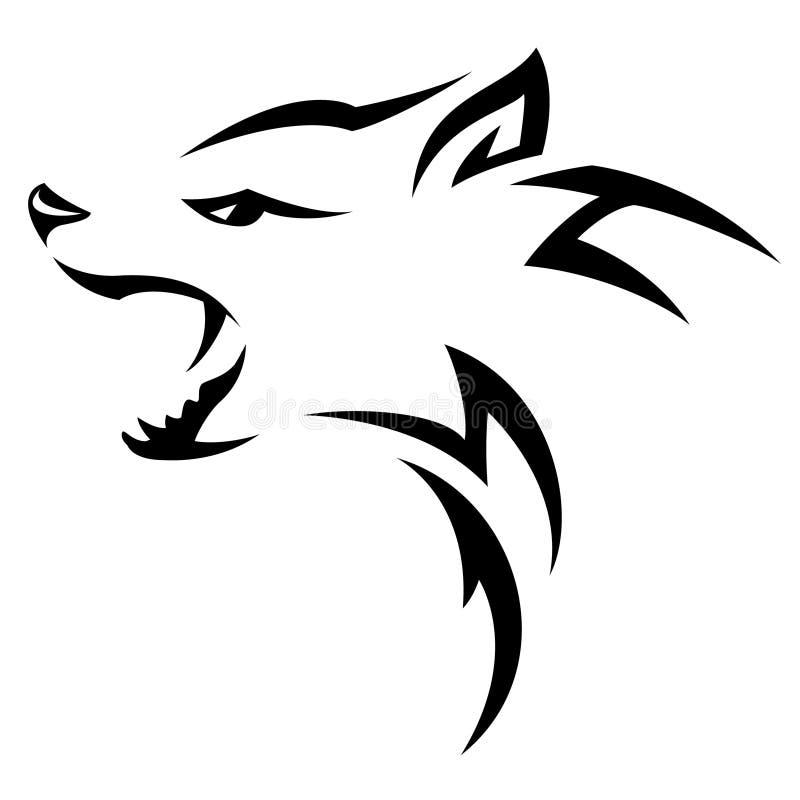 Hyena. S head Tribal tattoo design. Black isolated on white vector illustration