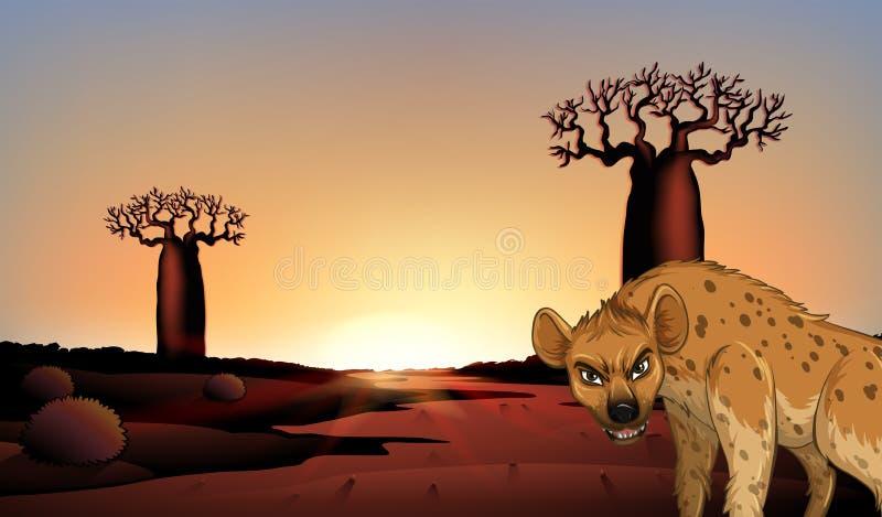 Hyena i fältet stock illustrationer