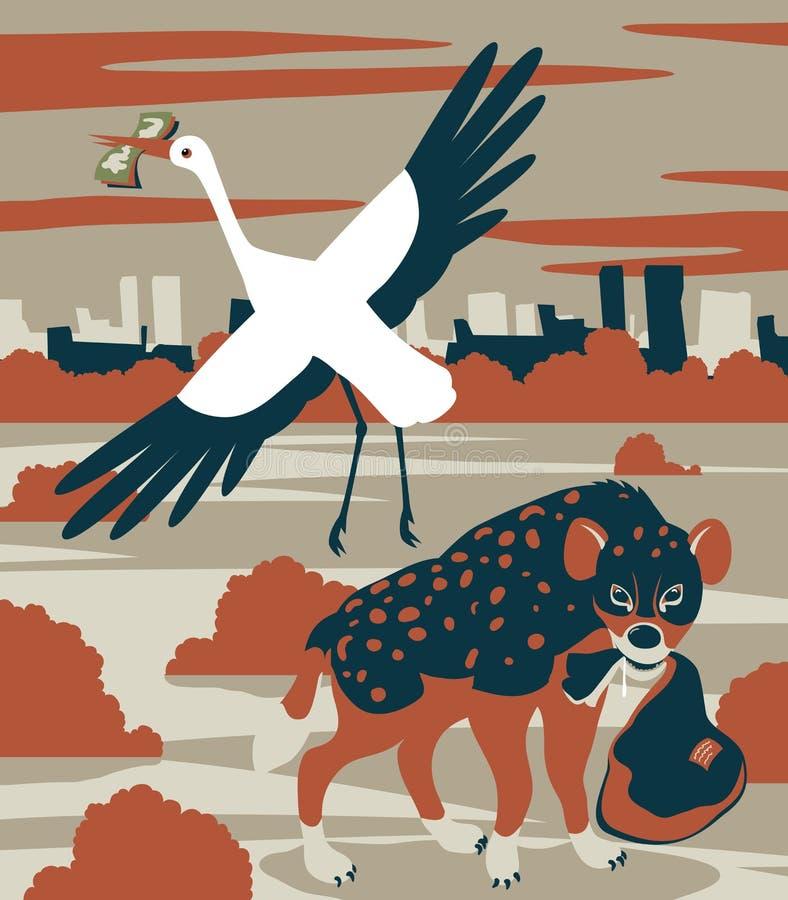 Hyena och stork stock illustrationer