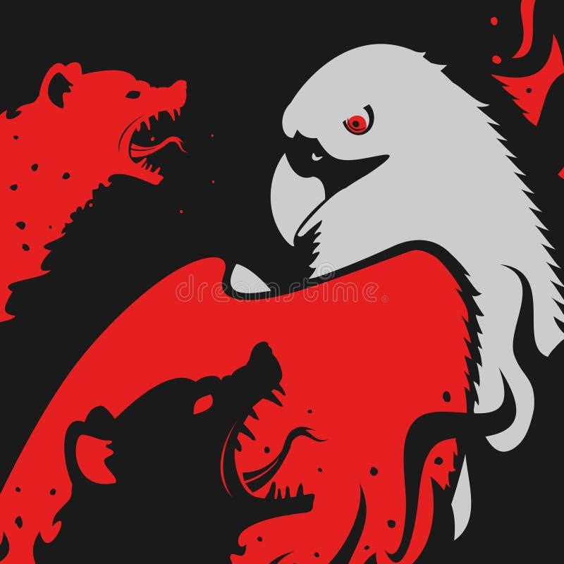 Hyenas attacks Eagle. Eps 8 file format royalty free illustration