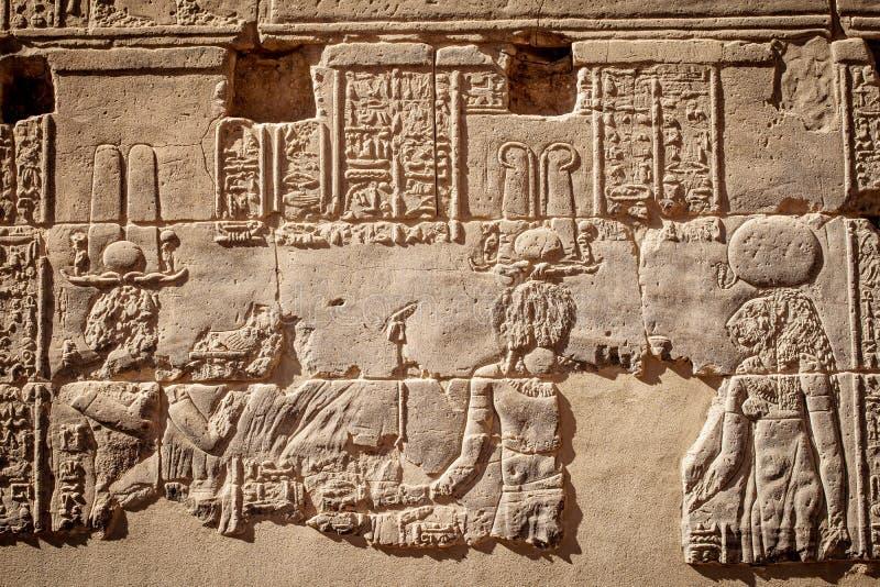 Hyerogliphics antique de civilisation de l'Egypte sur un mur dans le temple Assouan de Philae images stock