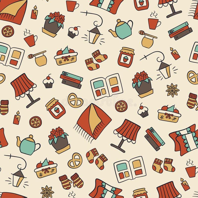 hygge 一个舒适房子的标志 斯堪的纳维亚传统 在乱画和动画片样式的无缝的样式 库存例证