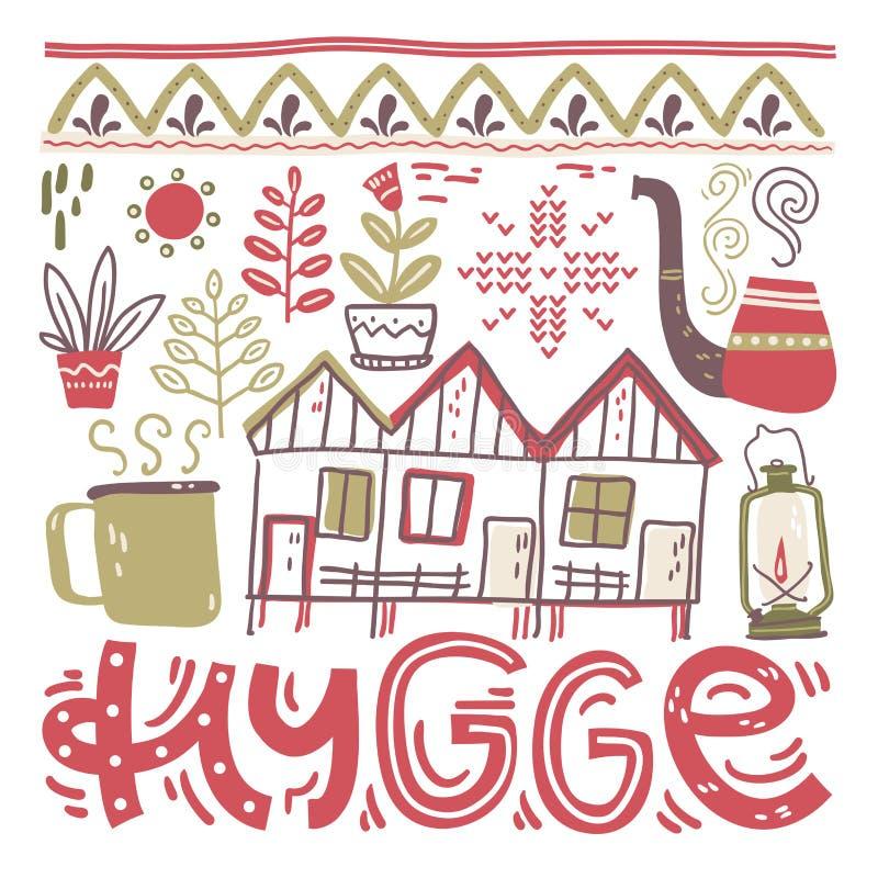 hygge 与设计元素的手字法在正方形 也corel凹道例证向量 向量例证