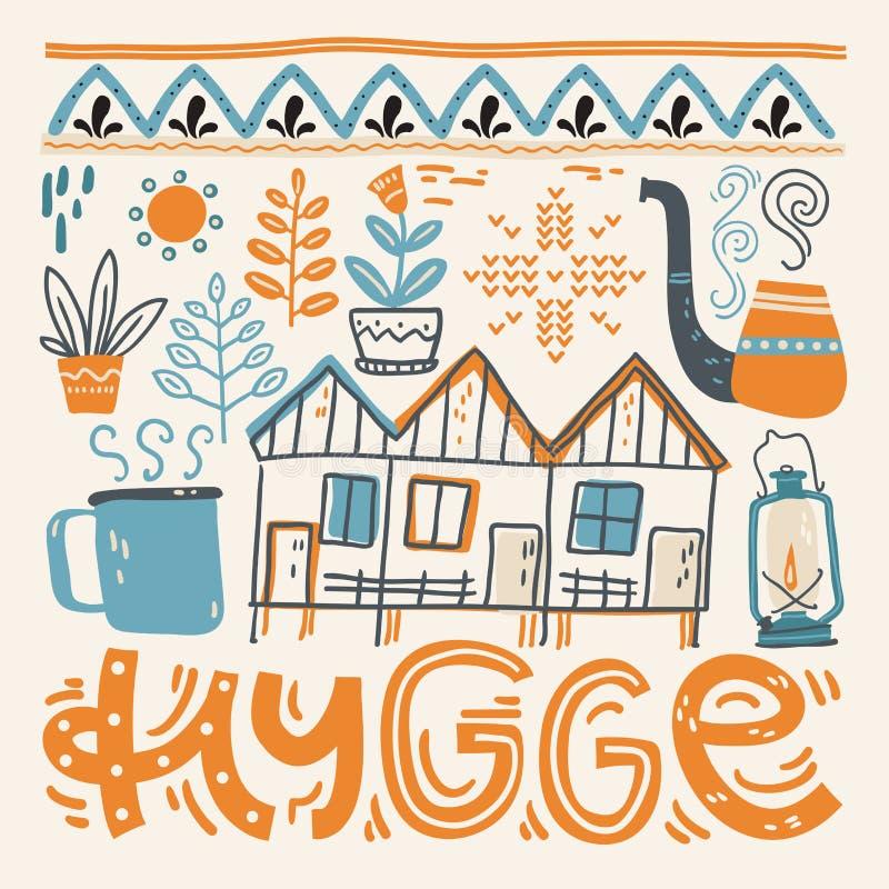 hygge 与设计元素的手字法在正方形 也corel凹道例证向量 库存例证