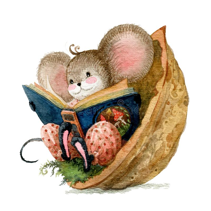 Hygge atmosphere. A little mouse reads fairy tales sitting in a walnut shell. Watercolor illustration vector illustration