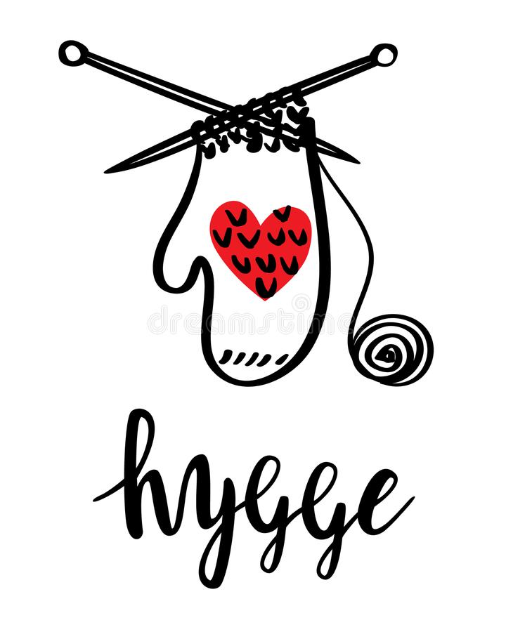 Hygge is a Danish living concept stock illustration