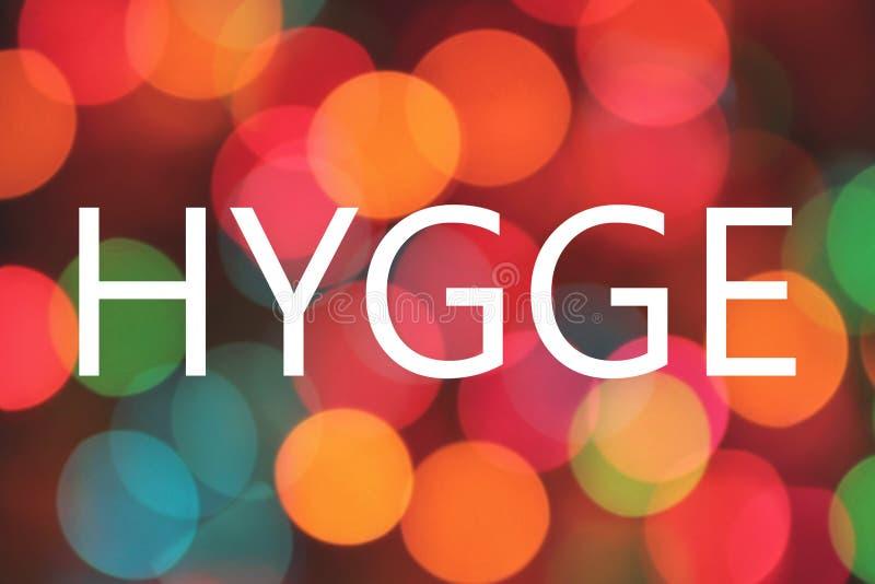 Hygge- Deens woord die comfort, gemak, cosiness betekenen royalty-vrije illustratie