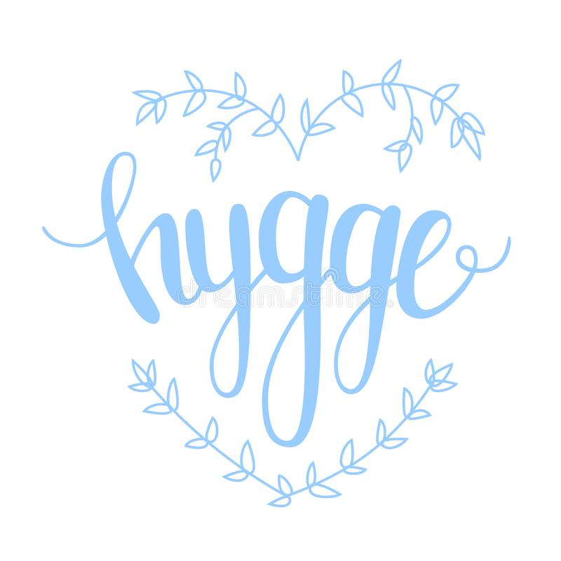 Hygge Hugge Danish happiness Vector illustration royalty free stock images