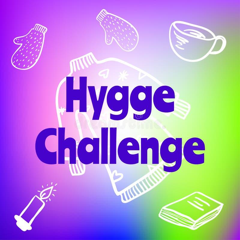 Hygge-Herausforderung Beschriftung auf unscharfem buntem Steigungshintergrund mit Zeichnungen der Kerze, der Handschuhe, des Buch lizenzfreie abbildung