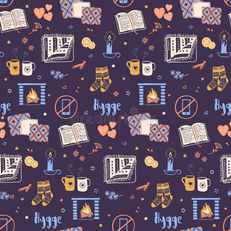 Cozy Living Room Vector Illustration: Hygge Seamless Pattern. Cozy Home Things. Danish Living