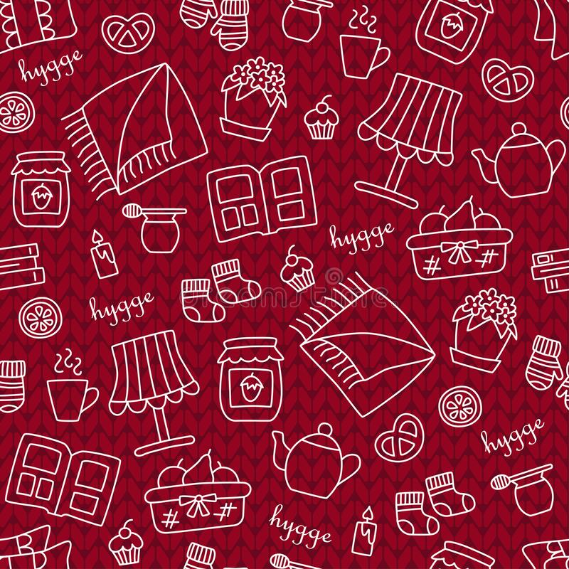 Hygge. Seamless pattern in doodle and cartoon style. Knitting. royalty free illustration
