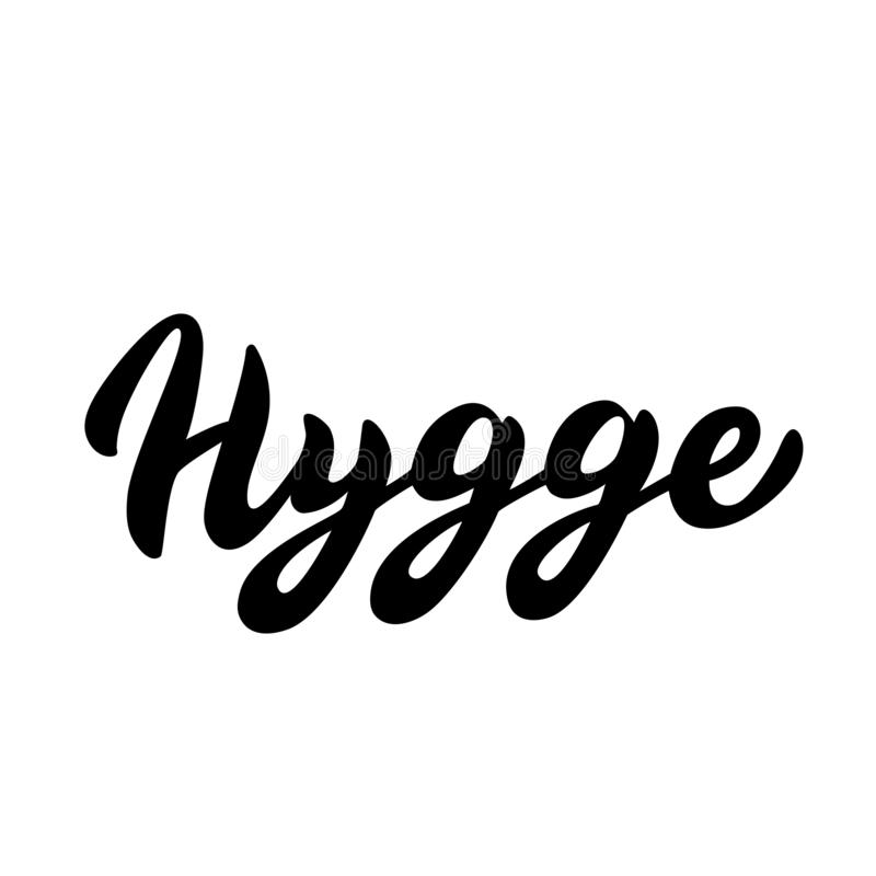 Hygge typography font. Lettering text in trendy design. Scandinavian cozy lifestyle concept. Vector. Eps 10 stock illustration