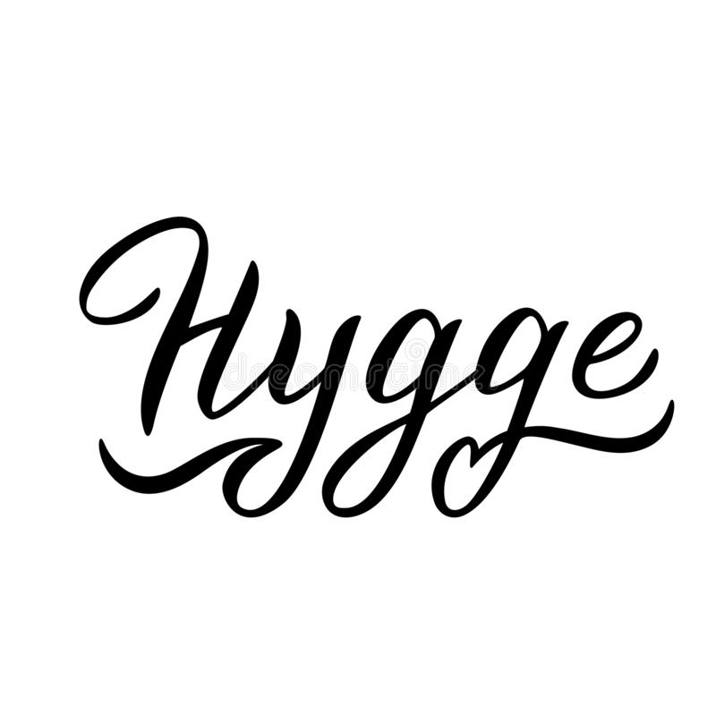 Hygge typography text. Lettering in trendy design. Scandinavian cozy lifestyle concept. Vector. Eps 10 royalty free illustration